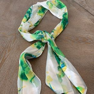 "Beige Green Blue And Yellow Floral Scarf 60""x14"""
